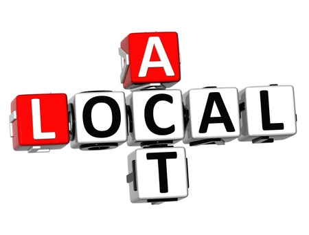 3D Act Local Crossword on white background photo