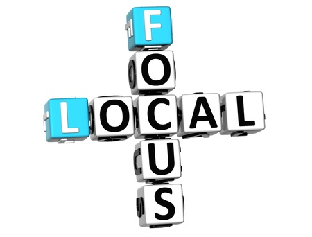 3D Local Focus Crossword on white background photo