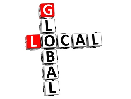 3D Local Global Crossword on white background photo