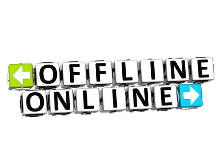 offline: 3D Offline Online Button Click Here Block Text over white background  Stock Photo