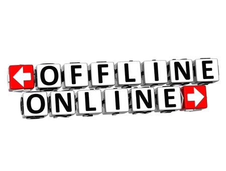 3D Offline Online Button Click Here Block Text over white background  Stock Photo - 18370696