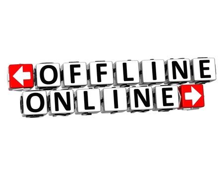 offline: 3D Offline Online Button Click Here Block Text over white background  Stock Photo