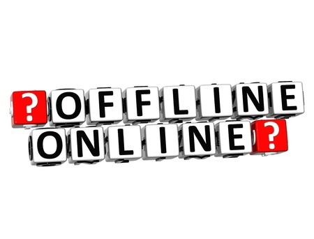 3D Offline Online Button Click Here Block Text over white background  photo