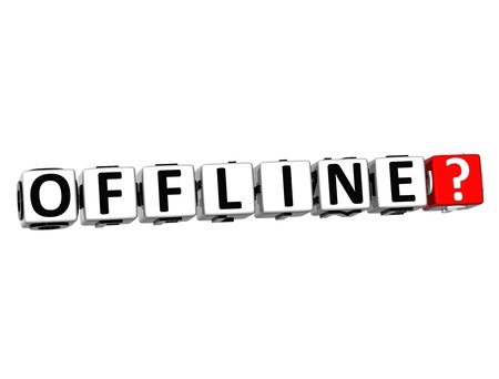 offline: 3D Offline Button Click Here Block Text over white background