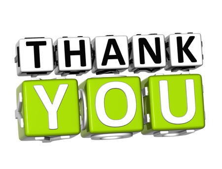 3D Thank You Button Click Here Block Text over white background Standard-Bild