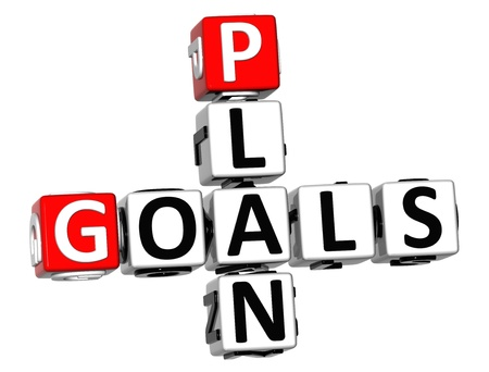 3D Plan Goals Crossword on white background Stock Photo - 18702752