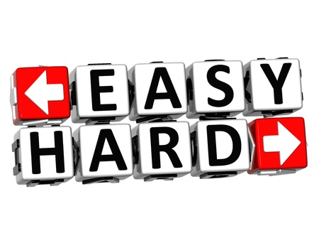 3D Easy Hard Button Click Here Block Text over white background Stock Photo - 18702744