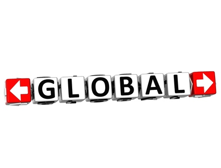 3D Global Button Click Here Block Text over white background Stock Photo - 18702614