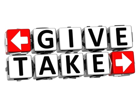 give and take: 3D Give Take Button Click Here Block Text over white background Stock Photo