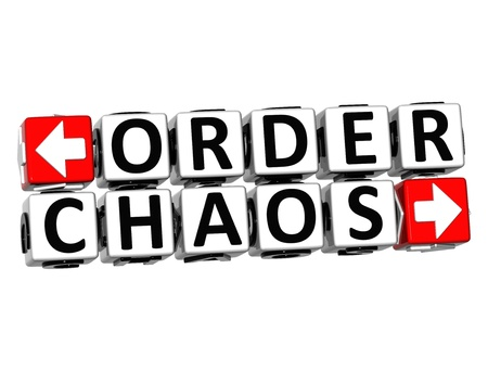 order chaos: 3D Order Chaos Button Click Here Block Text over white background
