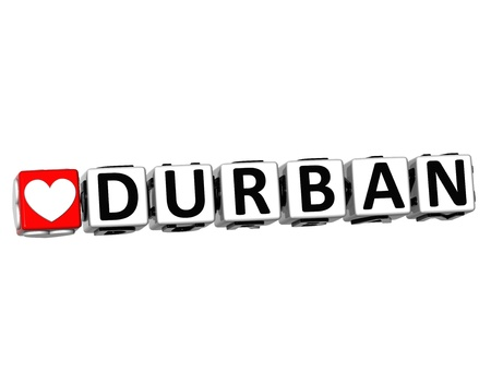 3D Love Durban Button Click Here Block Text over white background photo