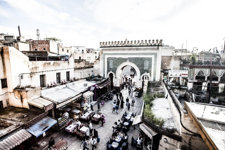bab: Bab Bou Jeloud gate (The Blue Gate) located at Fez, Morocco