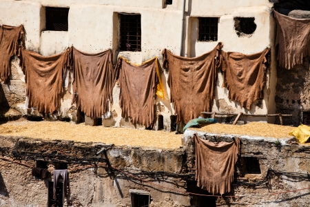hides: Tanneries of Fes, Morocco, AfricaOld tanks of the Fezs tanneries with color paint for leather, Morocco, Africa