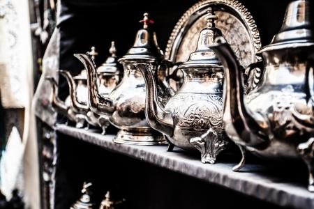 nana: Set of arabic nana mint tea with metal tea pot and glasses