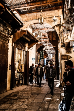 Small street in Fez medina (old town). Morocco.