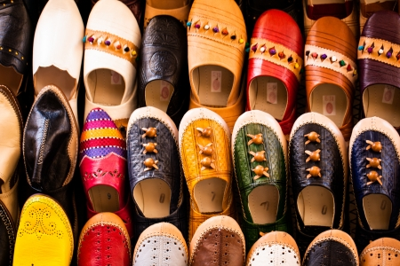 Multicoloured Moroccan slippers, Marrakesh photo