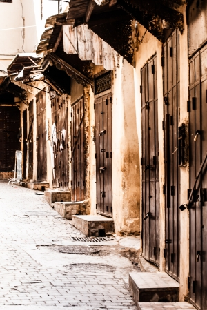 Small street in Fez medina (old town). Morocco.  photo