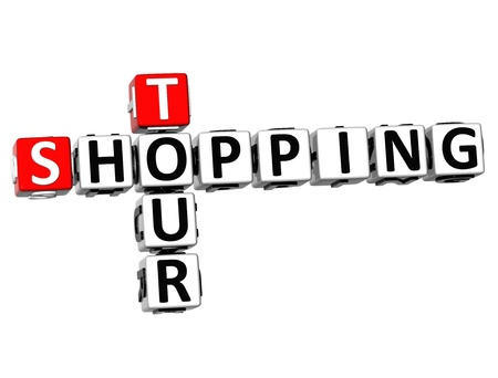 3D Shopping Tour Crossword on white background Stock Photo - 18982608