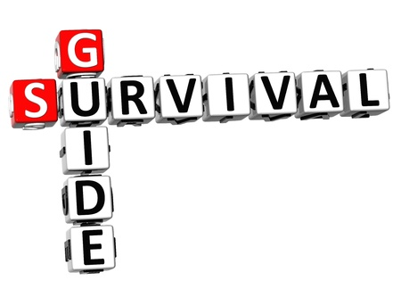 survival: 3D Survival Guide Crossword on white background