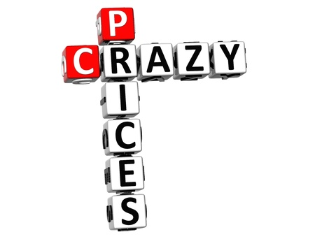 3D Crazy Prices Crossword on white background  photo