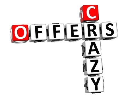 3D Crazy Offers Crossword on white background  photo