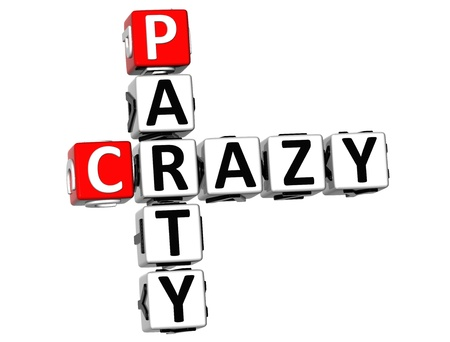 wariety: 3D Crazy Party Crossword on white background  Stock Photo