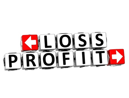 3D Loss Profit Button Click Here Block Text over white background photo