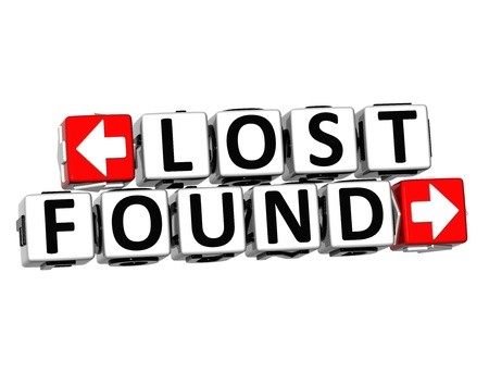 found: 3D Lost Found Button Click Here Block Text over white background