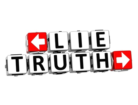 3D Lie Truth Button Click Here Block Text over white background photo