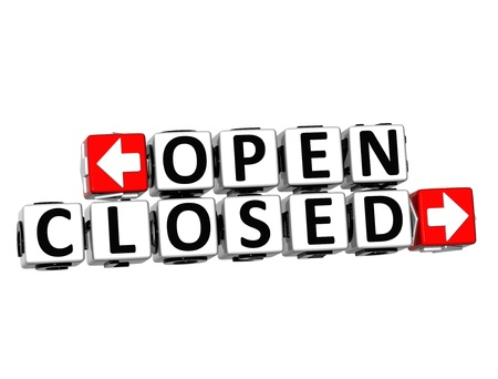 3D Open Closed Button Click Here Block Text over white background Stock Photo - 18982658
