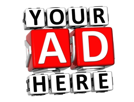 click here: 3D Your Ad Here Button Click Here Block Text over white background