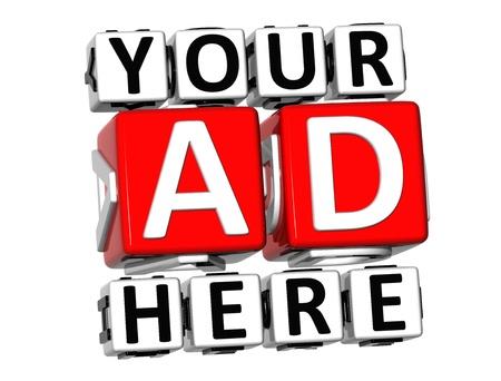 3D Your Ad Here Button Click Here Bloquear texto sobre fondo blanco