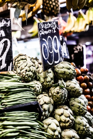 chirimoya: Fresh green Cherimoyas in Central Market, Barcelona, Spain. Stock Photo