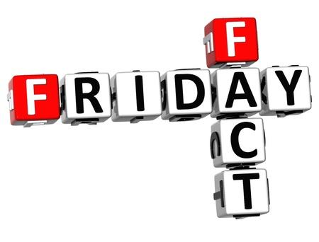 fact: 3D Friday Fact Crossword on white background