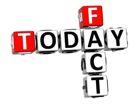 3D Today Fact Crossword on white background photo