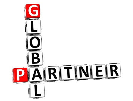 3D Global Partner Crossword on white background photo