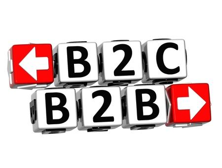 b2b: B2B B2C 3D Button Click Here Bloquear texto sobre fondo blanco Foto de archivo