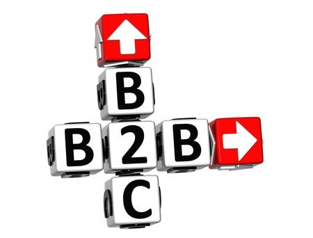 b2b: 3D Crucigrama B2C B2B sobre fondo blanco