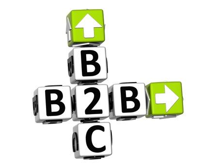 3D B2B B2C Kreuzworträtsel auf weißem Hintergrund Standard-Bild - 19379339