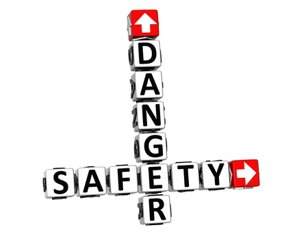 3D Danger Safety Crossword on white background photo