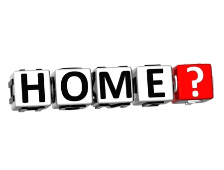 3D Home? Button Click Here Block Text over white background photo