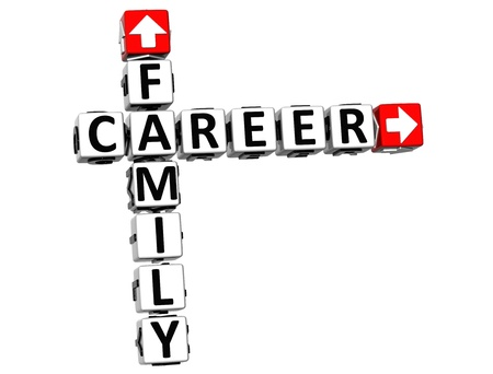 3D Family Career Crossword on white background