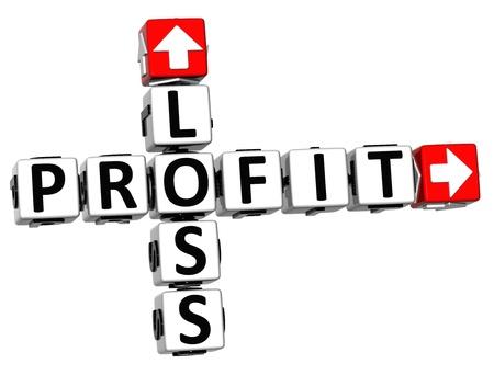 profit loss: 3D Loss Profit Crossword on white background Stock Photo