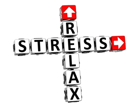 3D Relax Stress Crossword on white background photo