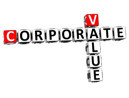 3D Value Corporate Crossword on white background photo