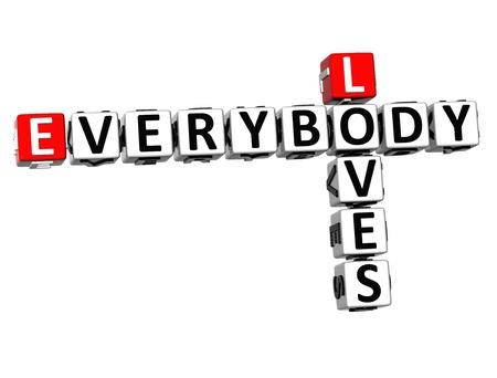 everybody: 3D Loves Everybody Crossword on white background
