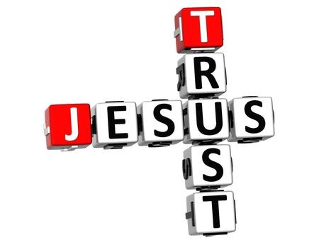 god box: 3D Trust Jesus Crossword on white background Stock Photo