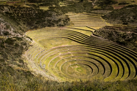 moray: Peru, Moray, ancient Inca circular terraces. Probable there is the Incas laboratory of agriculture  Stock Photo