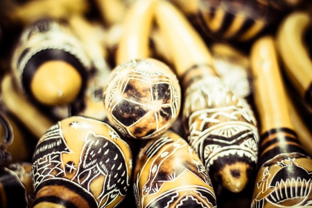 Handmade peruvian maracas in local market photo