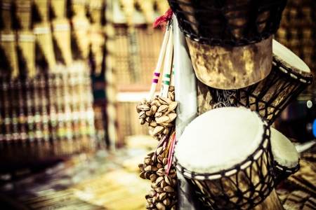 Musical instrument in local market in Peru. photo